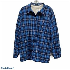 L.L.BEAN Blue plaid flannel sherpa lined shacket